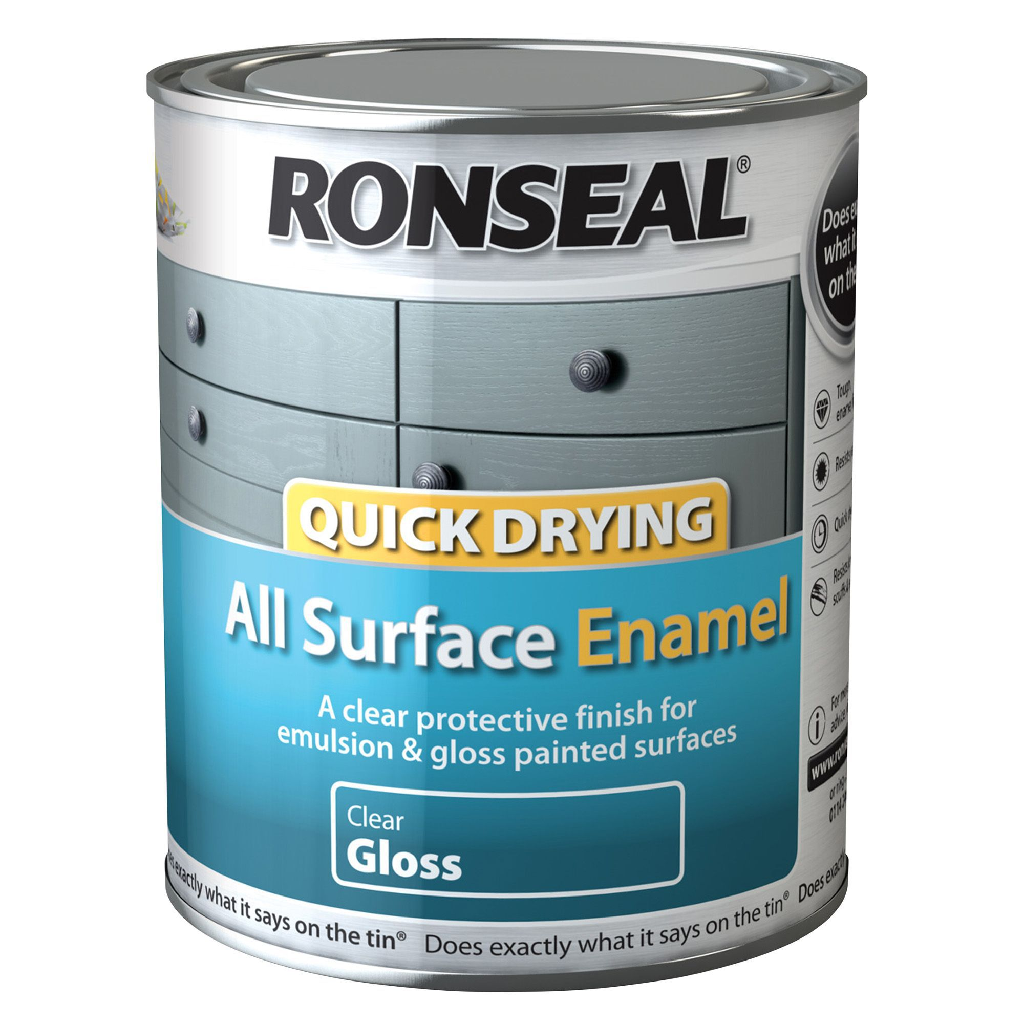 ronseal clear gloss enamel paint 750 ml departments. Black Bedroom Furniture Sets. Home Design Ideas