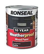 Ronseal Muddy brown Satin Wood paint 0.75L