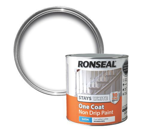 Ronseal interior white satin one coat non drip paint for One coat white paint
