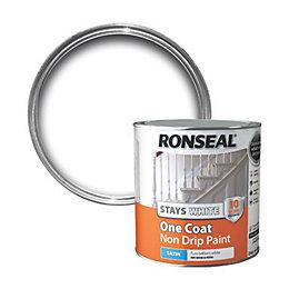 Ronseal Interior White Satin One Coat Non Drip