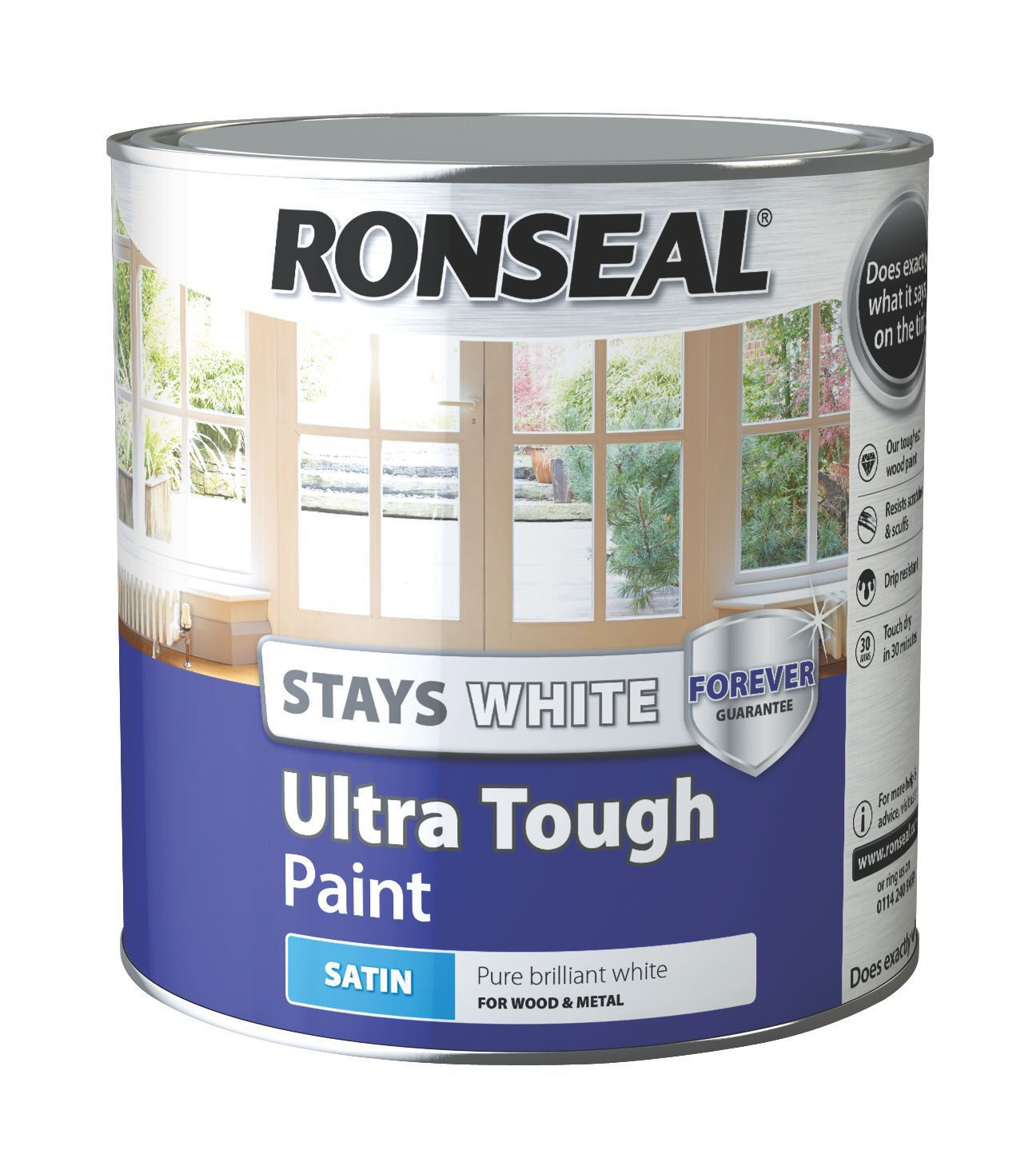ronseal pure brilliant white satin wood metal paint. Black Bedroom Furniture Sets. Home Design Ideas