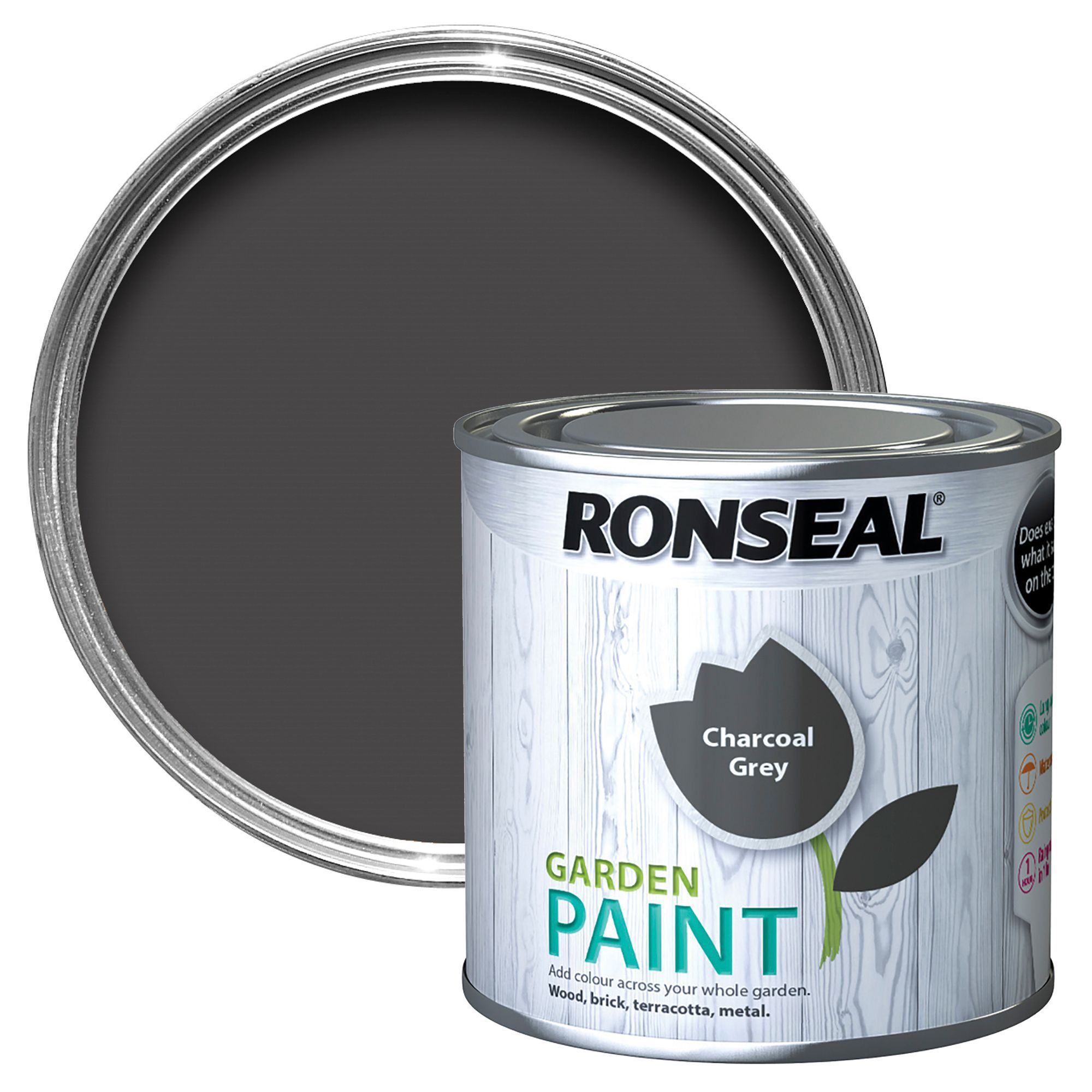 Ronseal Garden Charcoal Grey Matt Paint 0 25l