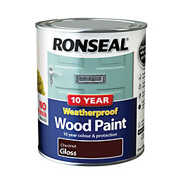 Ronseal External Chestnut Gloss Wood Paint 0.75L