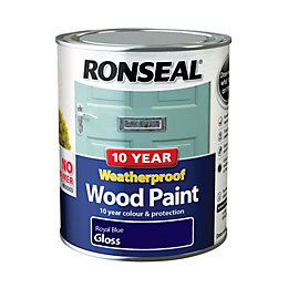 Ronseal Royal blue Gloss Wood paint 0.75L