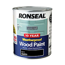 Ronseal Black Satin Wood paint 0.75L