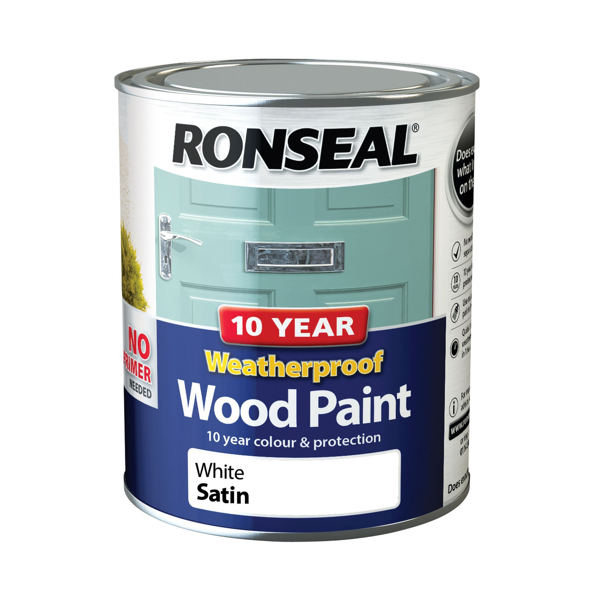 Ronseal White Satin Wood Paint 0 75l