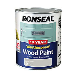 Ronseal Grey stone Satin Wood paint 0.75L