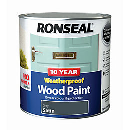 Ronseal External Grey Satin Wood Paint 2.5L