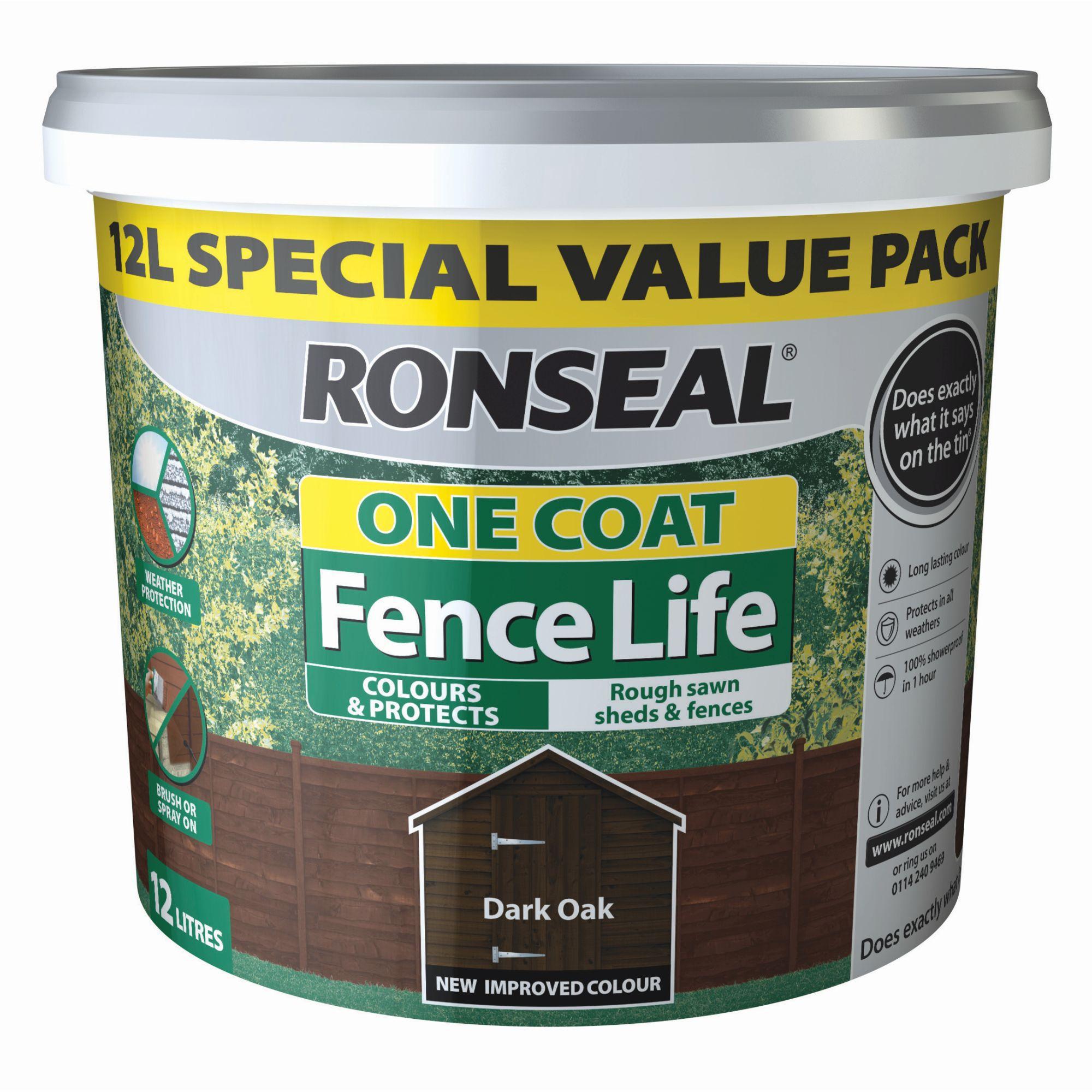 Ronseal One coat fence life Dark oak