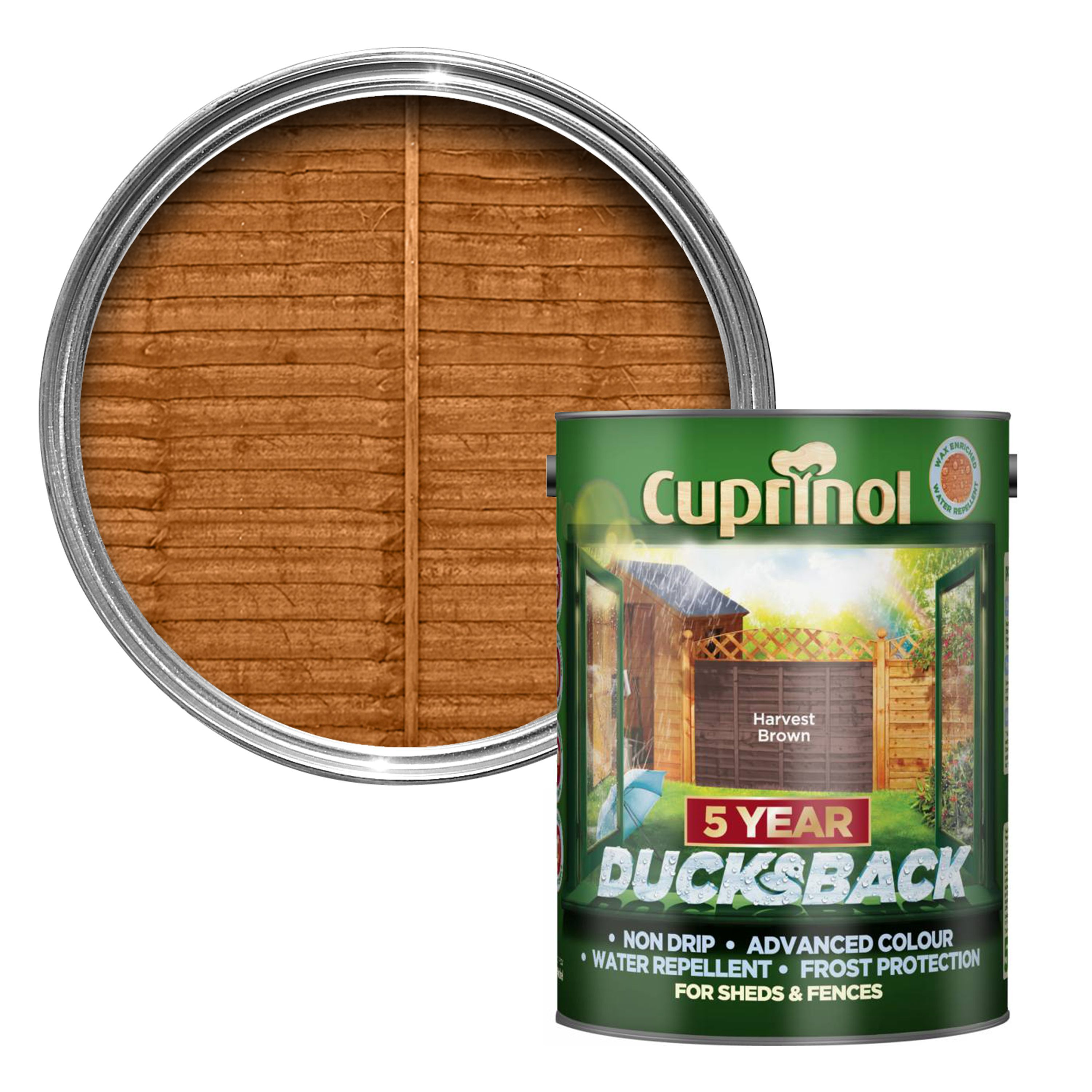 Cuprinol 5 Year Ducksback Autumn Gold Shed & Fence Treatment 5L