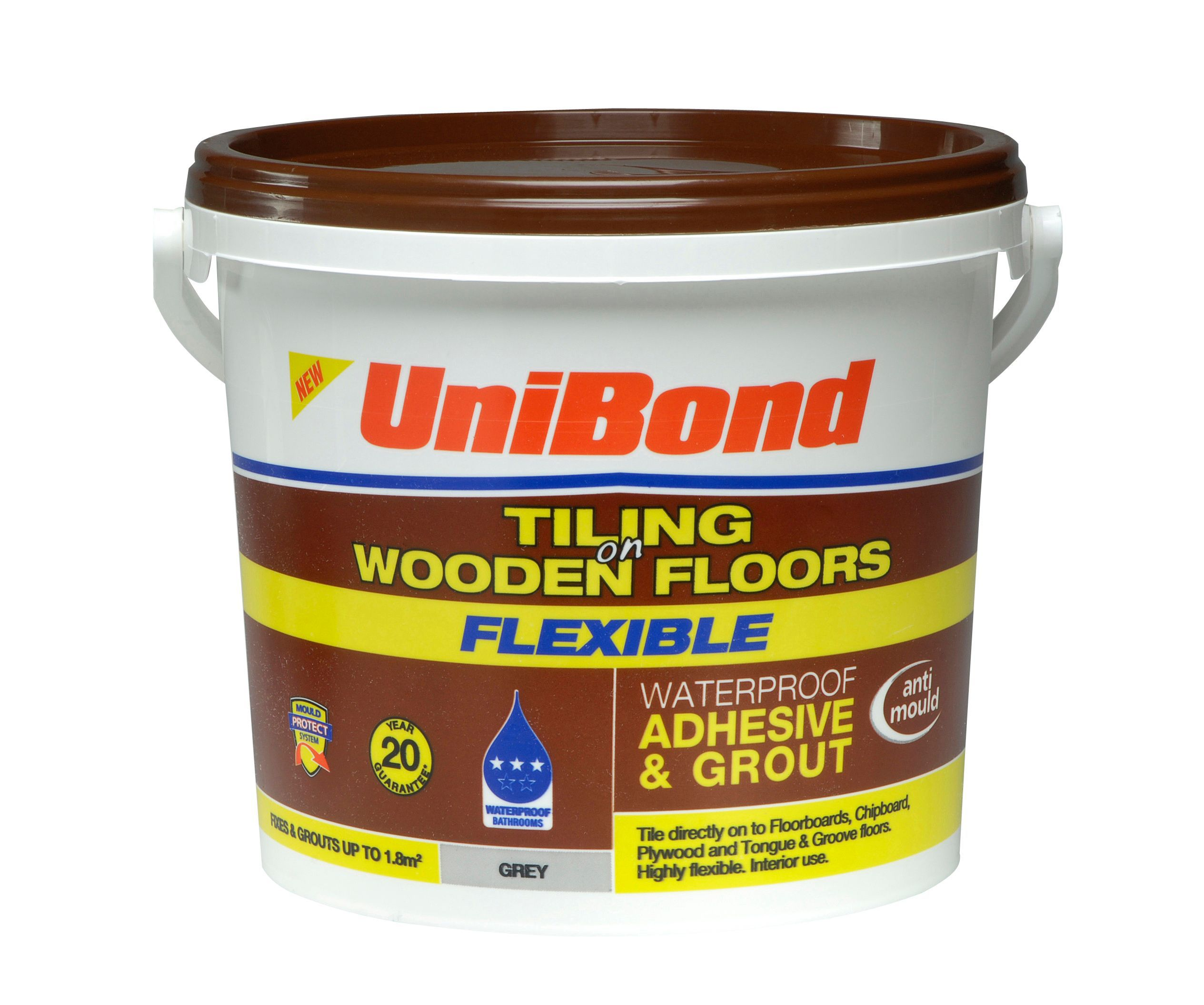 Unibond Ready To Use Floor Tile Adhesive Grout Grey 7 3kg