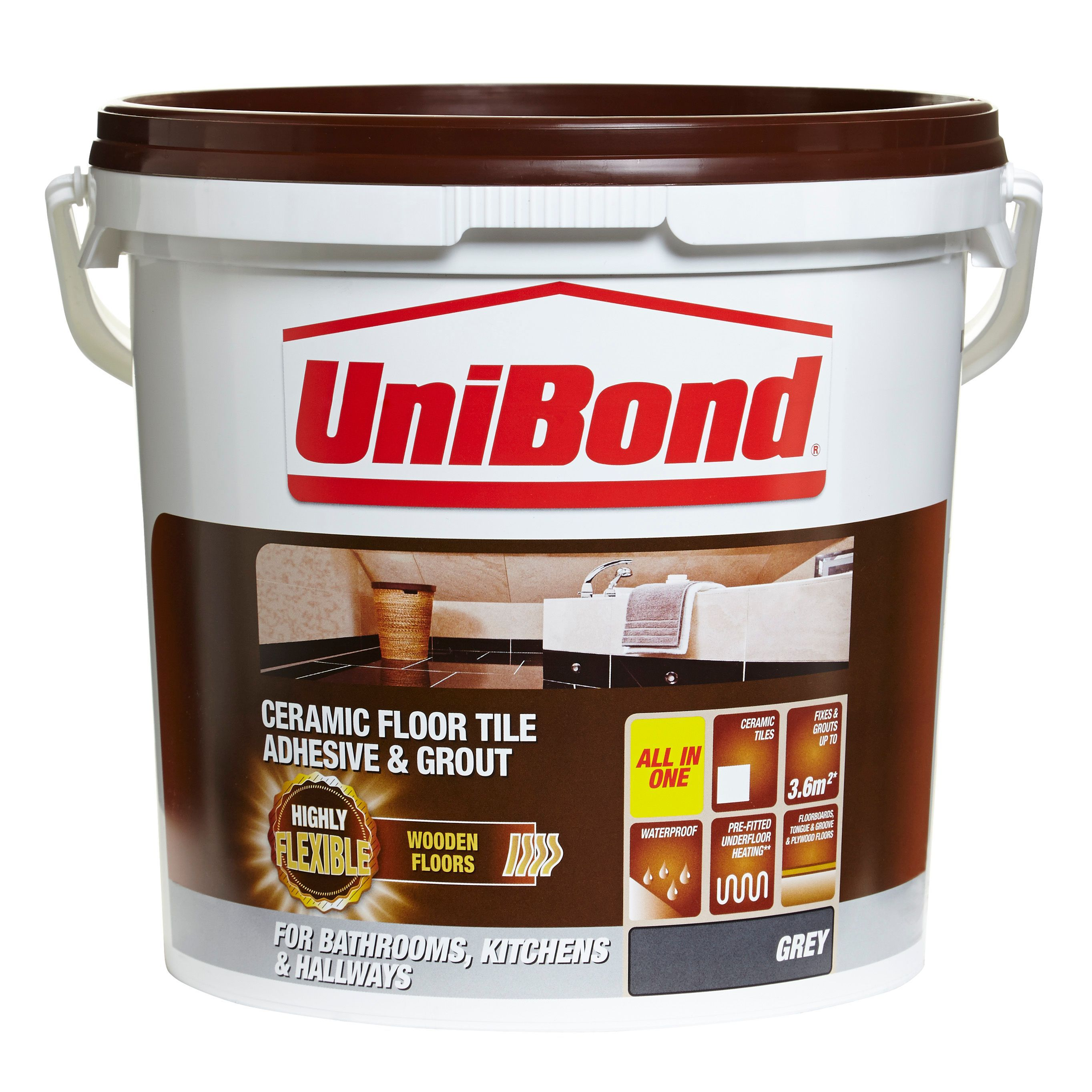 Unibond Ready To Use Floor Tile Adhesive Grout Grey 14 3kg Departments Diy At B Q