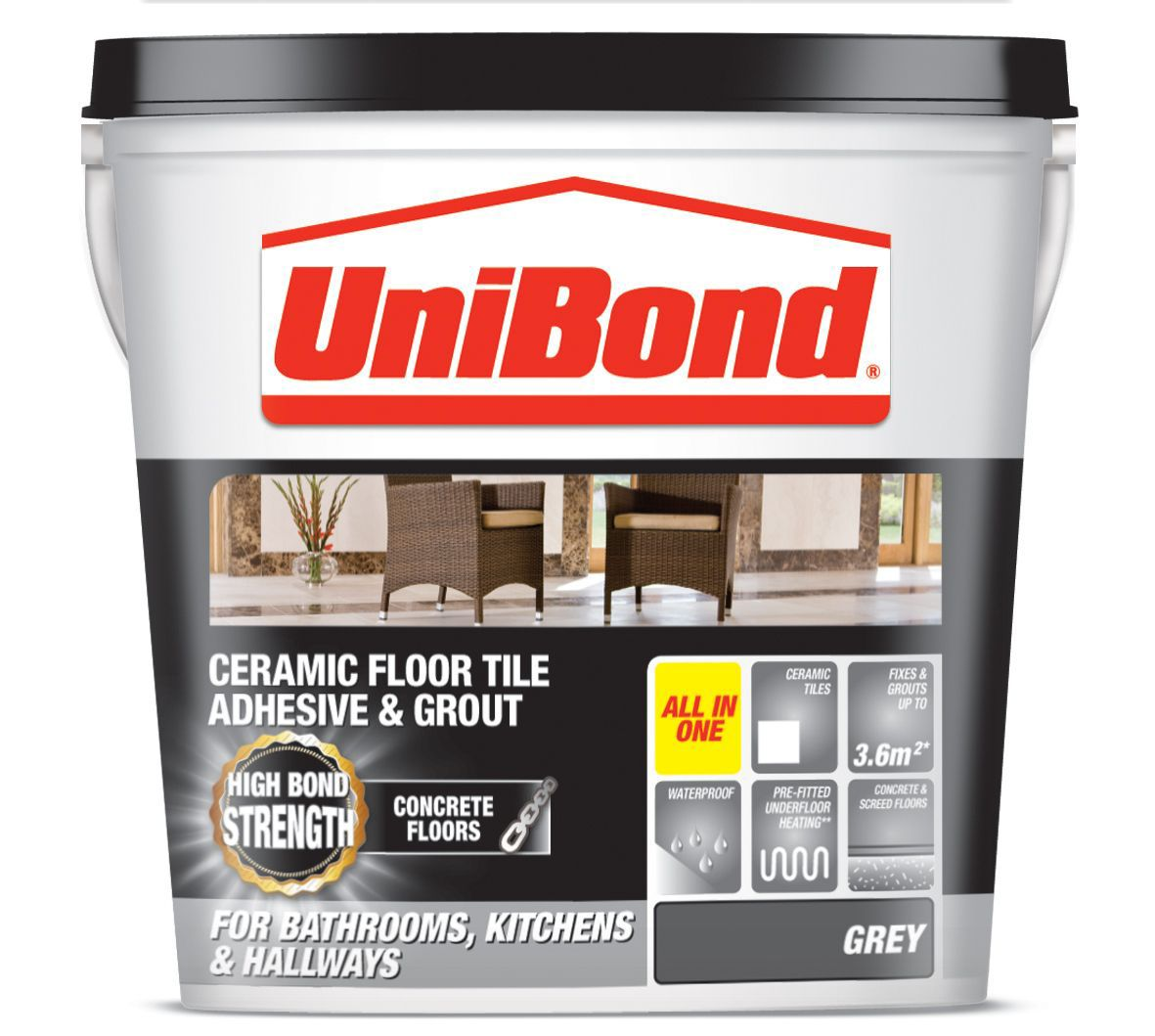 Unibond Ready To Use Floor Tile Adhesive Grout Grey 143kg