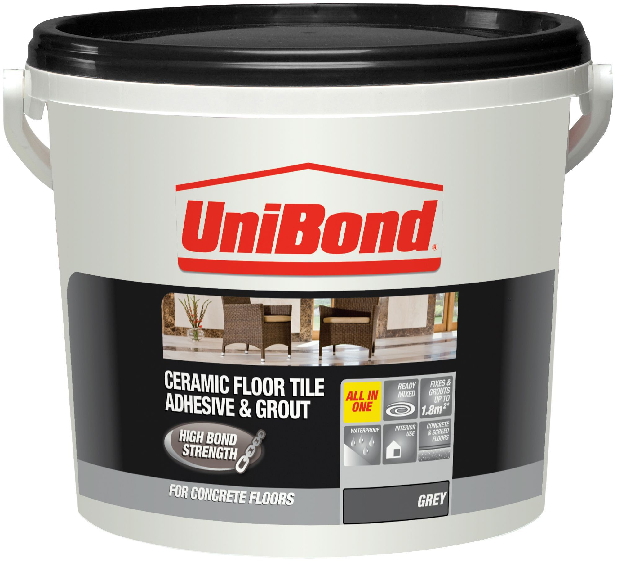UniBond Ready to use Floor tile adhesive & grout, Grey 7 ...