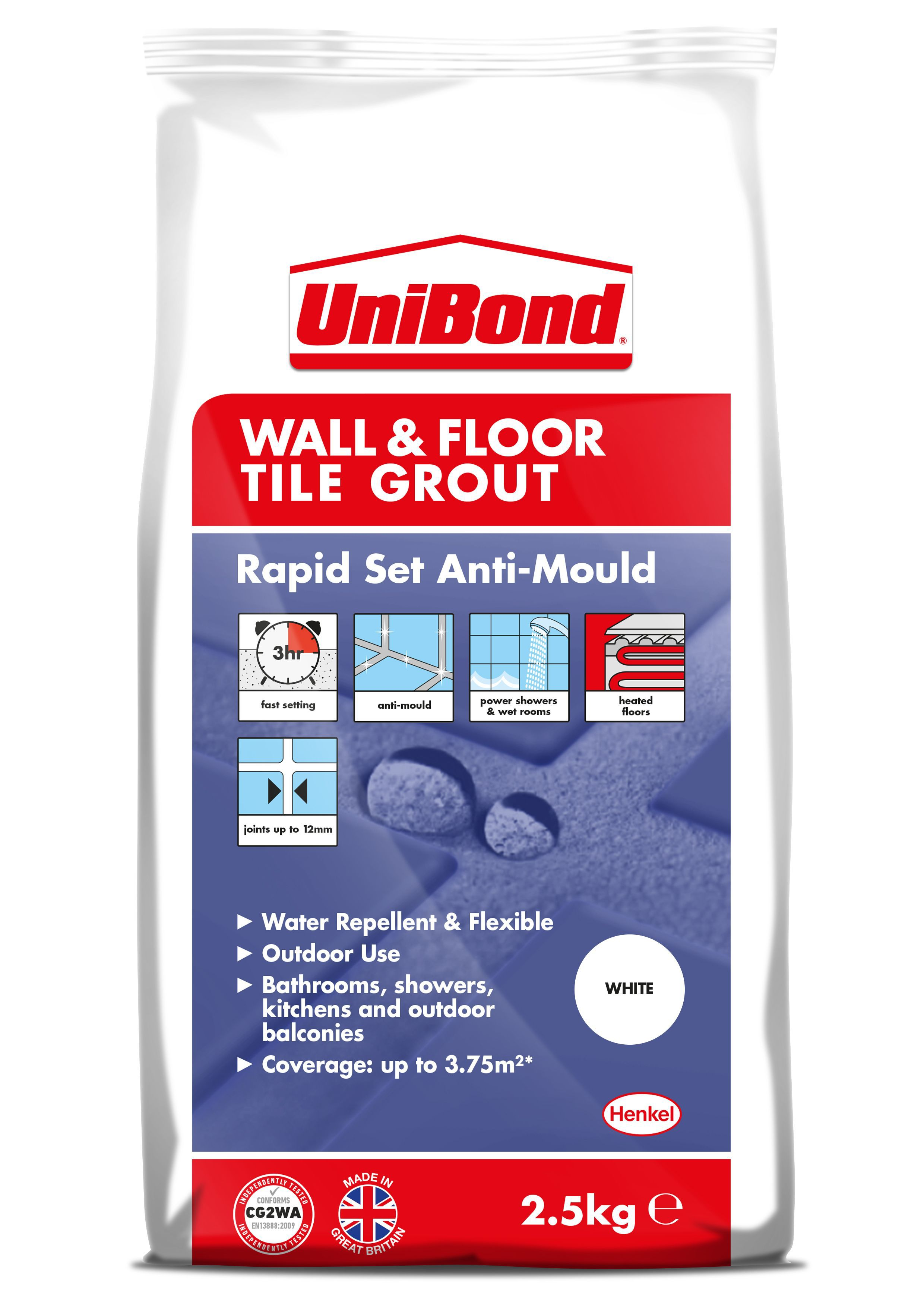 Unibond rapid set flexible white wall floor tile grout w25kg unibond rapid set flexible white wall floor tile grout w25kg departments diy at bq dailygadgetfo Gallery