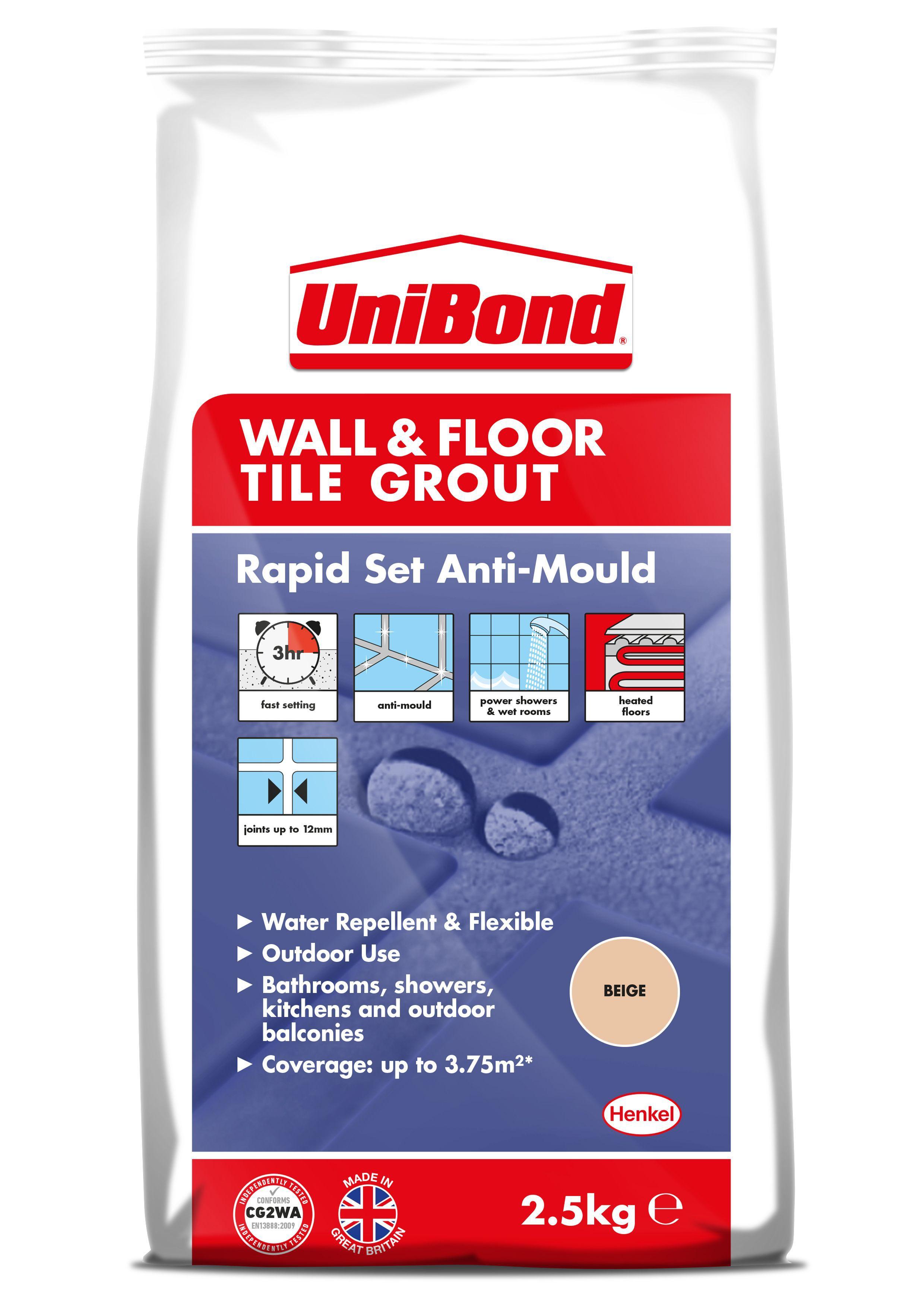 Unibond Rapid Set Flexible Beige Wall & Floor Tile Grout (W)2.5kg ...