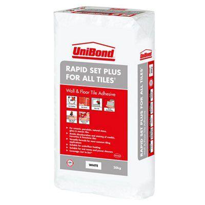 UniBond Rapid set Powder Wall & floor tile adhesive, White 20kg ...