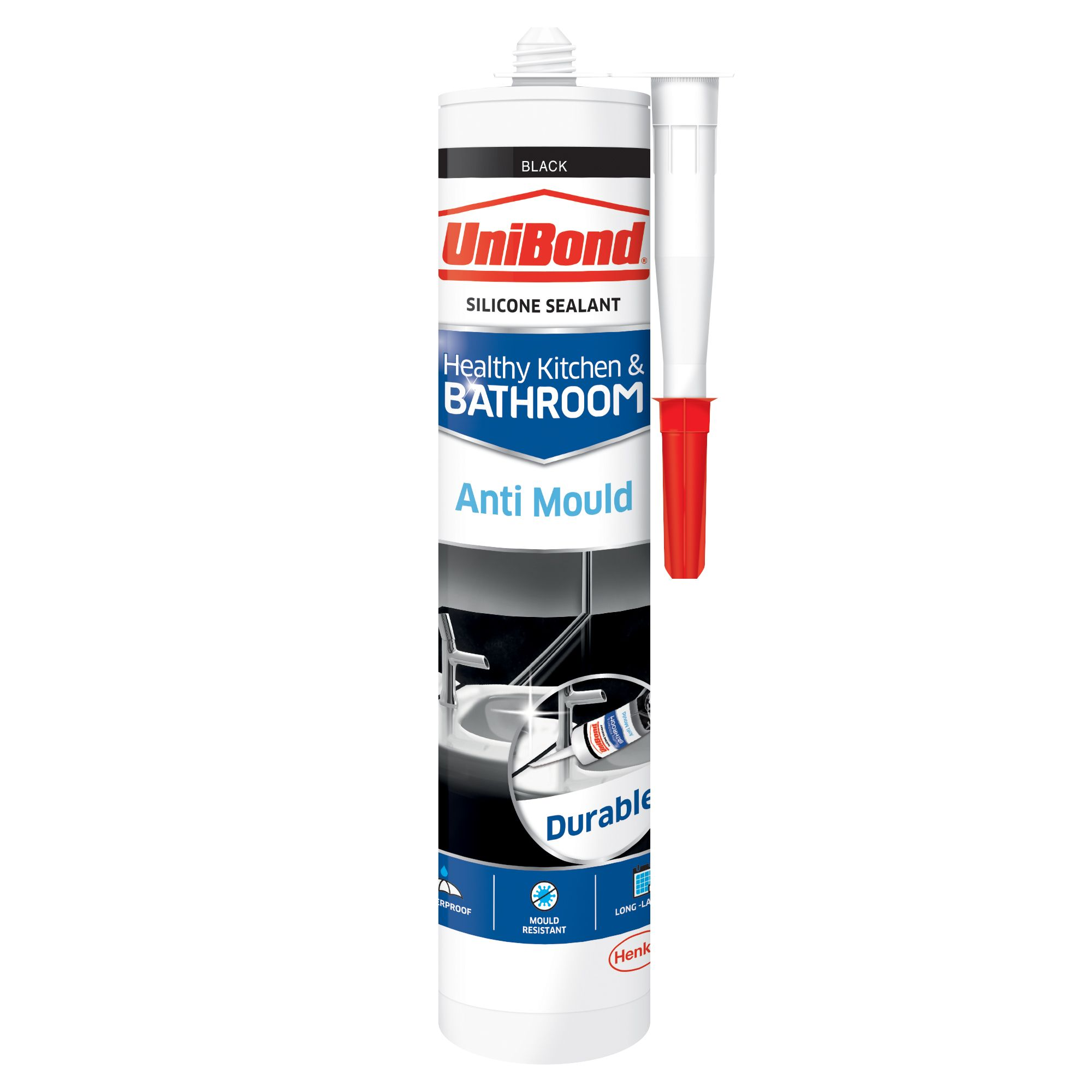 UniBond Anti Mould Black Kitchen & Bathroom Sealant 300 ml ...