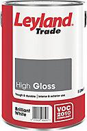 Leyland Trade Brilliant white Gloss Wood & metal paint 5L