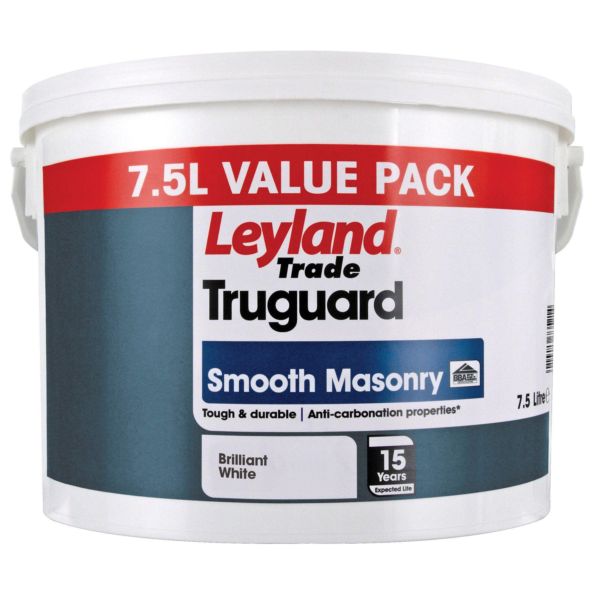Leyland Trade Truguard Brilliant White Matt Masonry Paint 7 5l Departments Diy At B Q