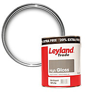 Leyland Trade Pure brilliant white Gloss Wood & metal paint 3L