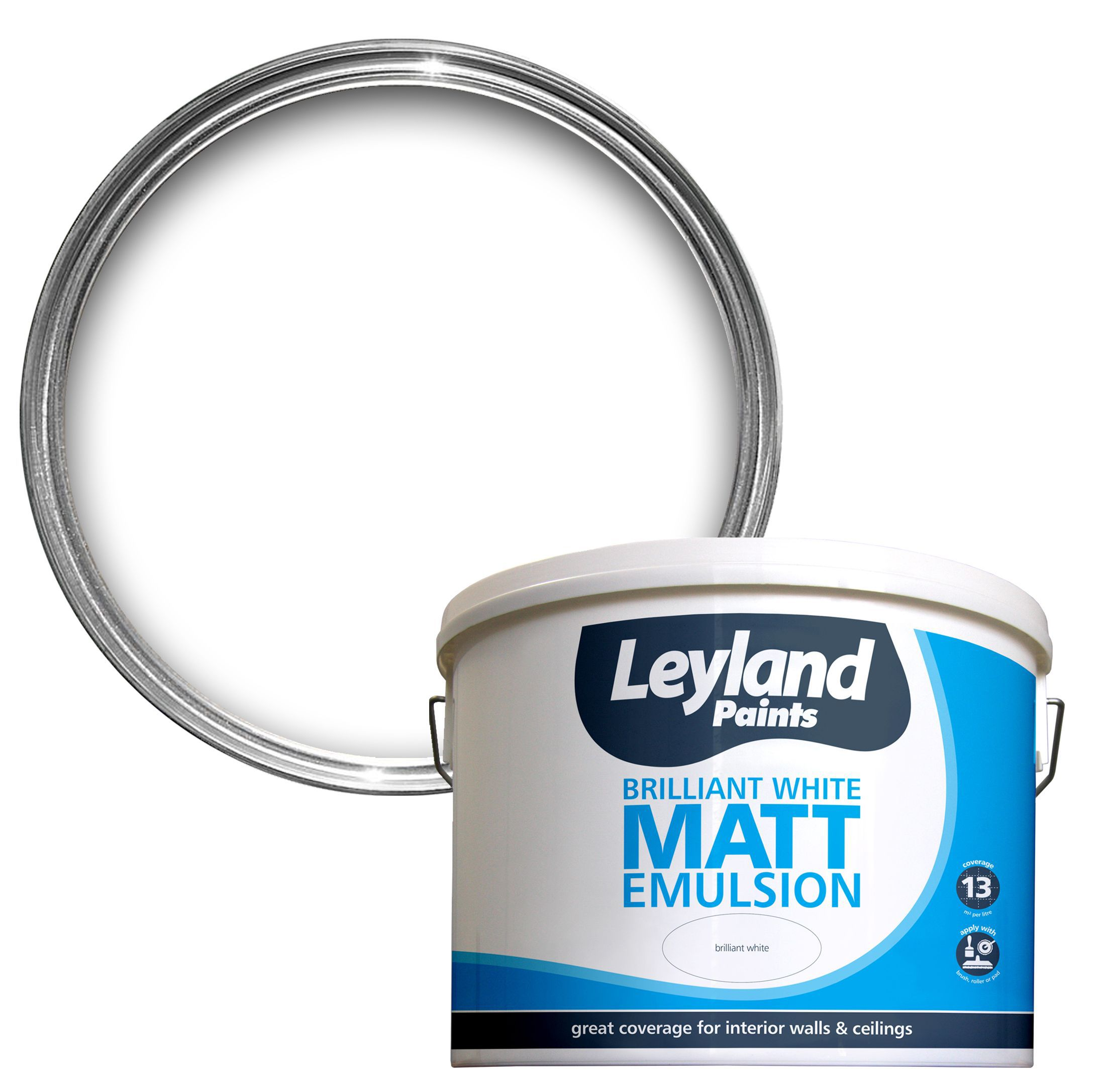Leyland Pure brilliant white Matt Emulsion paint 10L | Departments | DIY at  B&Q