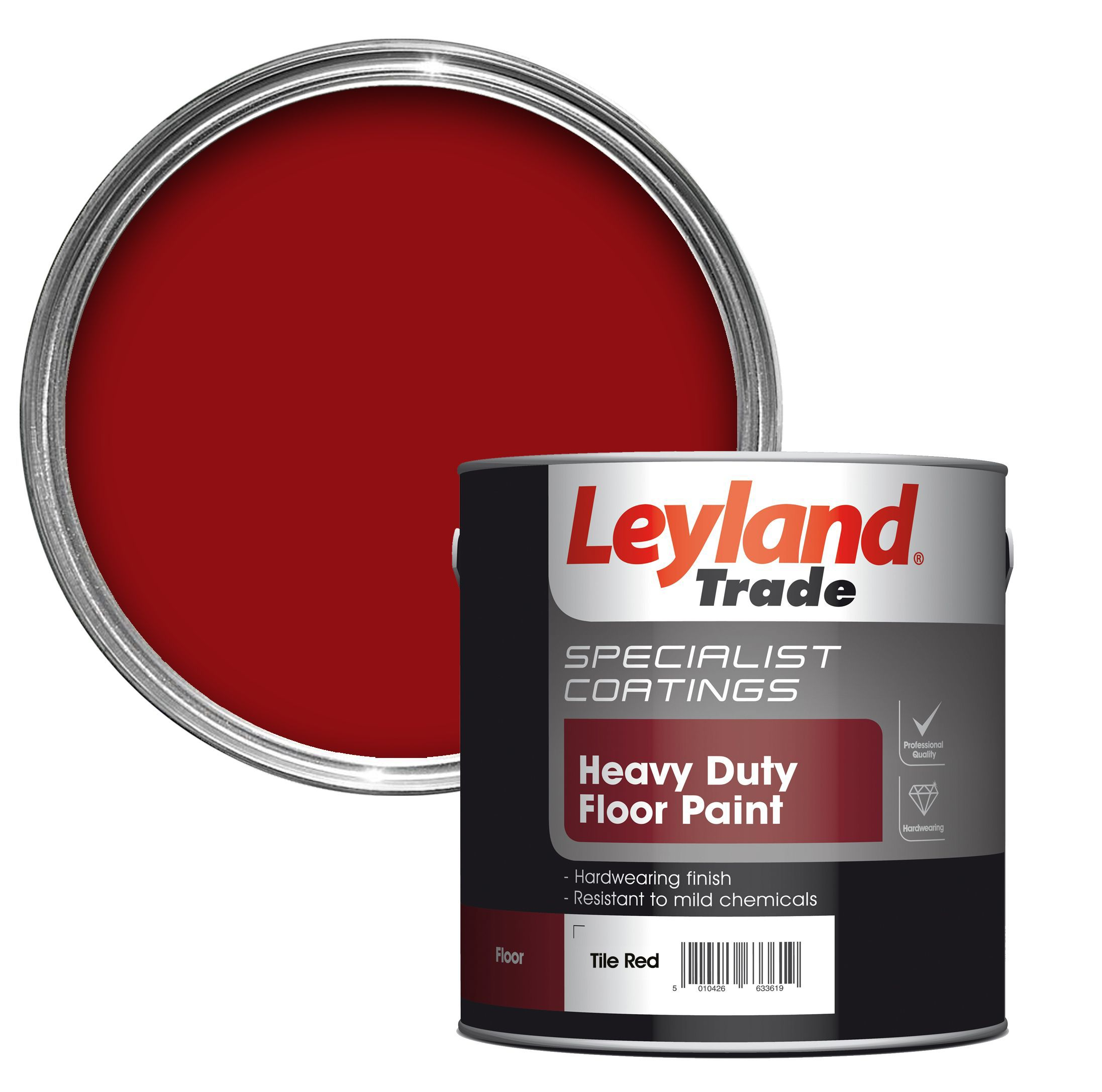 leyland trade heavy duty tile red satin floor tile paint2 5l