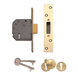 Yale 64mm Polished Brass 5 Lever Deadlock