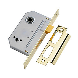 Yale 64mm Polished Brass 2 Lever Deadlock