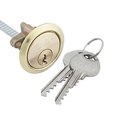 Yale 80mm Brass-Plated Metal Rim Cylinder Lock