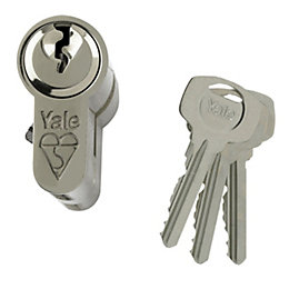 Yale 80mm Nickel-Plated Euro Cylinder Lock