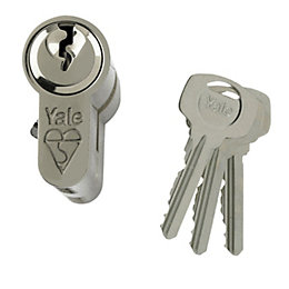 Yale 100mm Nickel plated Euro cylinder lock