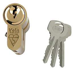 Yale 100mm Brass-plated Euro cylinder lock