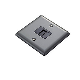 1-Gang Raised Pewter Effect Telephone Socket
