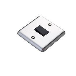 Volex 10A 2-Way Single Brushed Steel Intermediate Switch