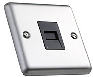 Volex 1-gang Raised Brushed stainless steel Telephone socket