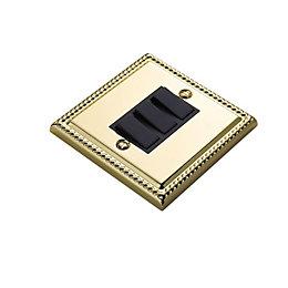 Volex 10A 2-Way Triple Polished Brass Effect Light