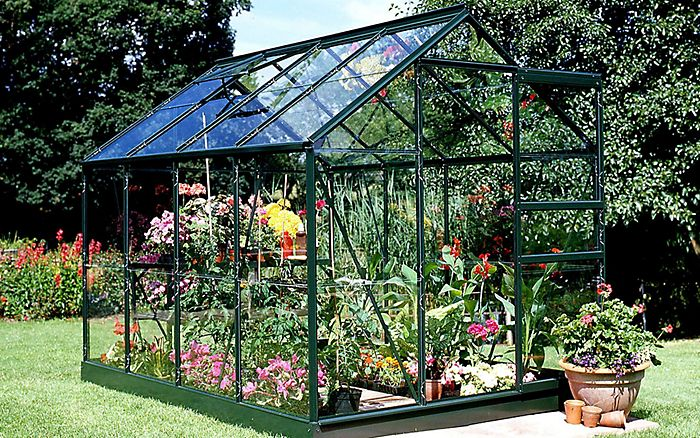 """Green B&Q 6X8 Horticultural Glass Greenhouse"""