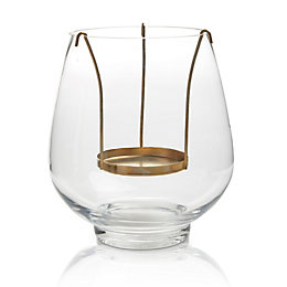 Copper effect Glass & metal Floating candle holder,