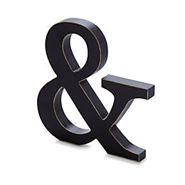 Black Matt Ampersand Wood Ornament