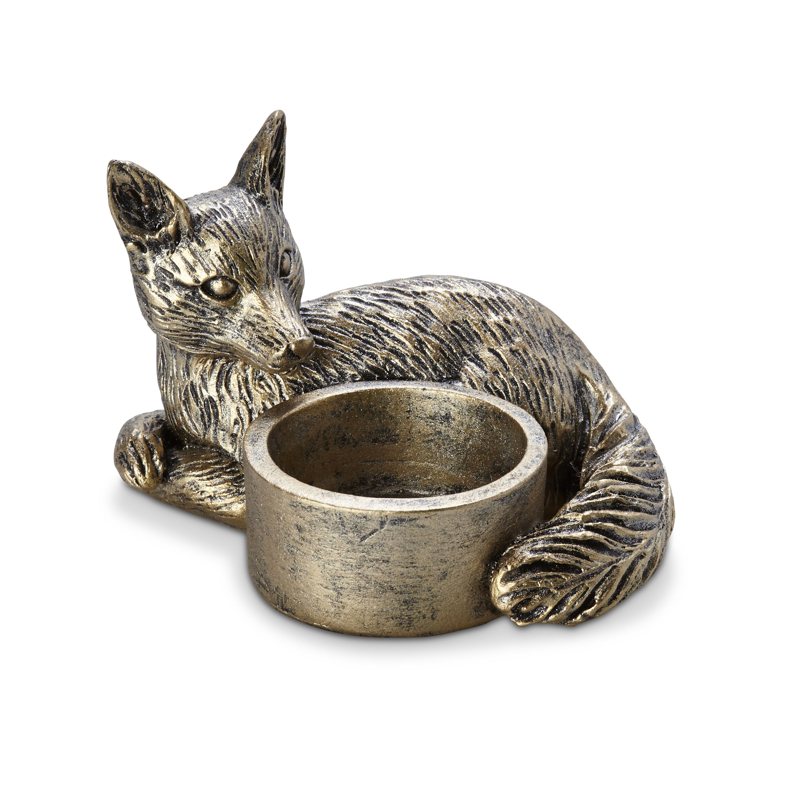 Bronze Effect Fox Resin Tea Light Holder Departments
