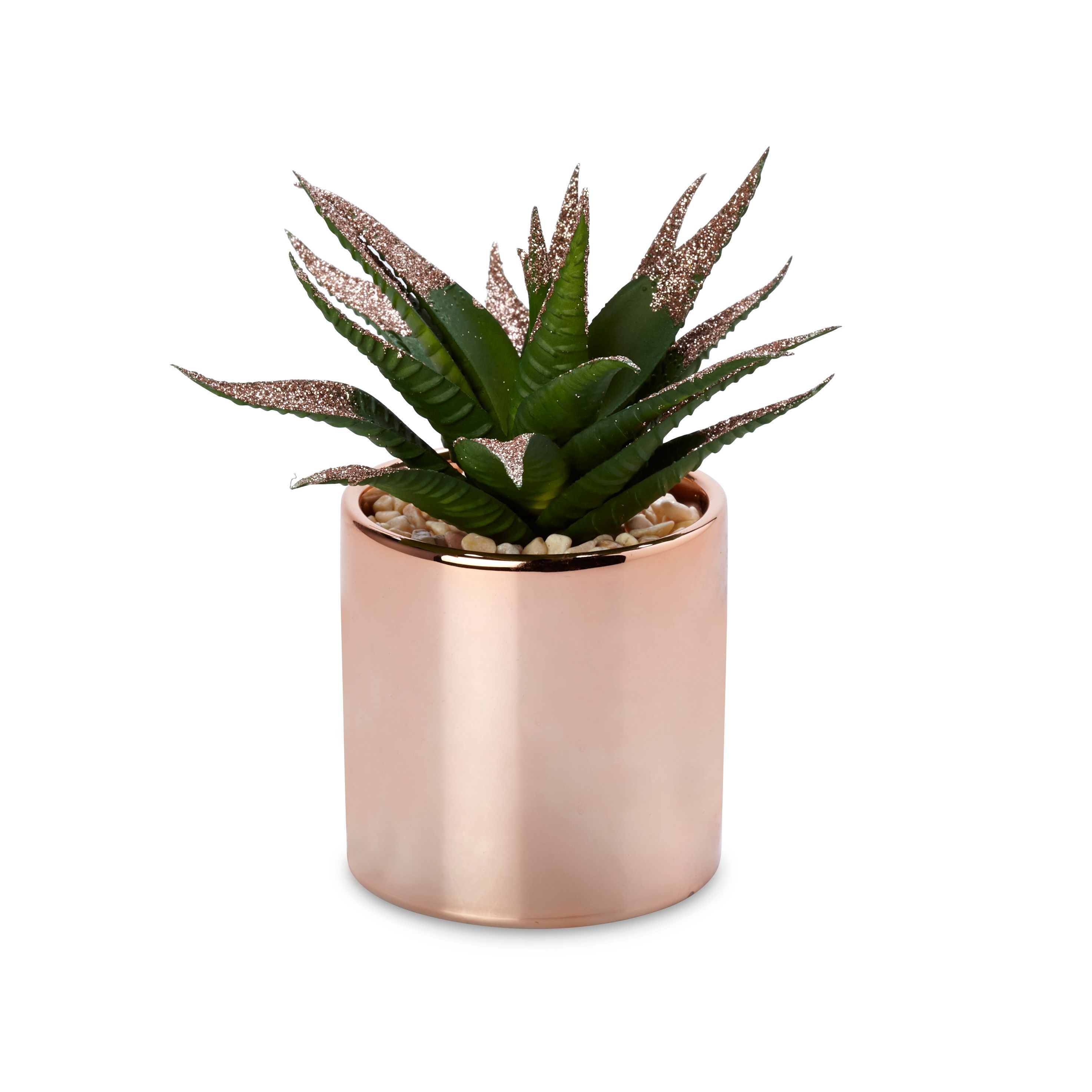 Rose Gold Pot With Faux Plant Departments Diy At B Amp Q