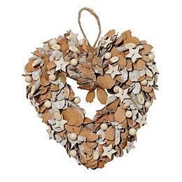 Silver Glitter Heart Dried leaves Wreath