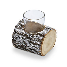 Brown Glitter Finish Bark Wood & Glass Tealight