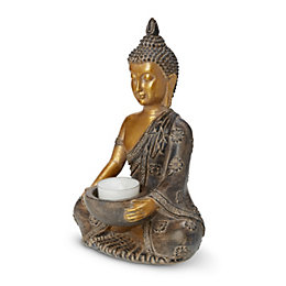 Gold effect Sitting buddha Resin Tealight holder