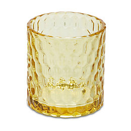 Mustard Embossed Glass Tealight holder