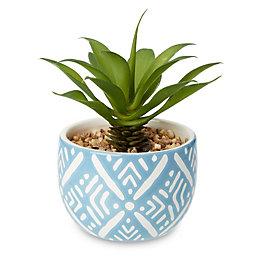 Blue Mosaic Print Dolomite Pot with Artificial Succulent