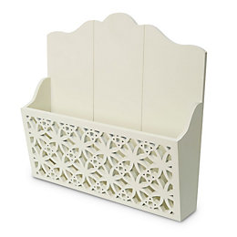 Cream Cut out detail Wood Letter rack, Small