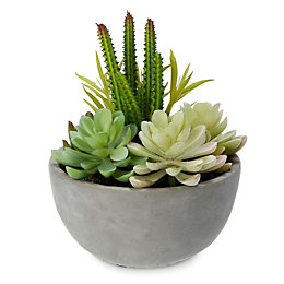 Grey Dolomite & PVC Pot with artificial succulent