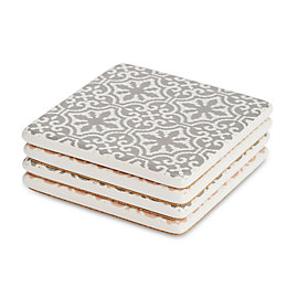 Beige & Grey Mosaic Print Ceramic Coasters, Small